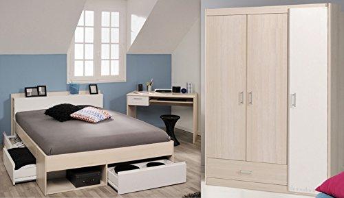 Wohnorama Schlafzimmer-Set 3-TLG inkl 140x200 Etagenbett u Kleiderschrank 3-TRG Most 73 von Parisot Akazie/Weiss by
