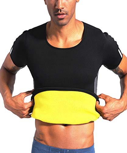 TINGSU Männer Neopren Gewichtsverlust Sauna-Anzug Heiß Schweißtraining T-Shirt Body Shaper Fettverbrenner Abnehmen Fitness Shapewear