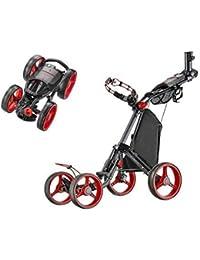 CaddyTek Superlite Quad V2 4 Ruedas Trolley Pulsar Trolley Trolley Carro de Golf Carrito - Negro/Rojo