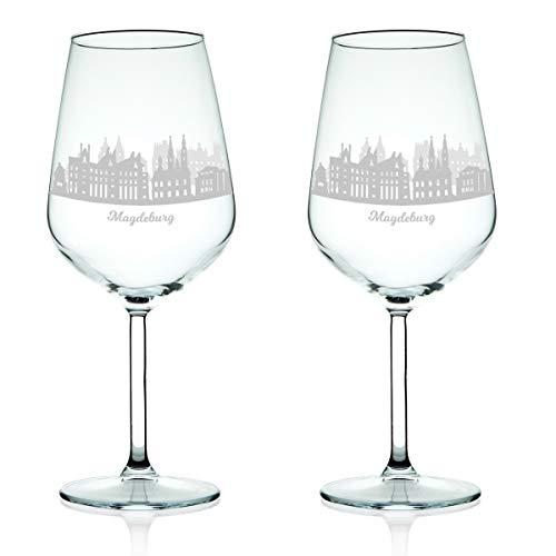 Leonardo Weinglas mit Gravur - Skyline Magdeburg im Set - Geschenk für Anspruchsvolle & Weingenießer - Souvenir Andenken Stadt Mitbringsel - Geburtstagsgeschenk Weihnachtsgeschenk