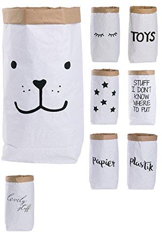 Papiersack Paper Bag rund Kraftpapier Beutel Braun Weiß 'Bär'