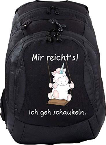Gepolsterte Schaukel (Mein Zwergenland Schulrucksack Teen Compact, 26 L, Schwarz, Mir reichts ich GEH schaukeln)