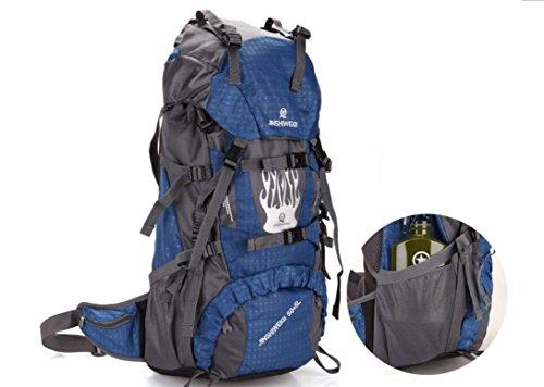 Pacchetto di sport all'aperto di zaino zaini impermeabili per gli uomini e le donne 60L doppia borsa a tracolla , blue Blue