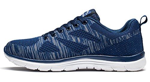 Santimon Hommes Baskets Flyknit Confortable Léger Exercice Athlétique Respirant Engrener Anti Choc Orteil Course à Pied Chaussures de Marche Bleu