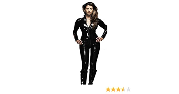 0ba41bbd1e4 Ladies Black Shiny Real PVC Catsuit Fancy Dress Costume Halloween Outfit  (16)  Amazon.co.uk  Health   Personal Care