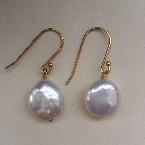 Große Münze/Knopf Perle Silber Versilbert Gold Ohrringe
