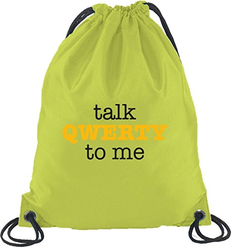 Shirtstreet24, Talk QWERTY to me, Turnbeutel Rucksack Sport Beutel Limone