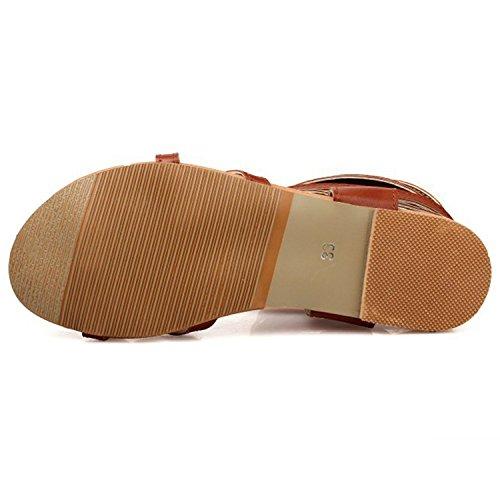 Oasap Women's Fashion Lace-up Flat Thong Sandals Black