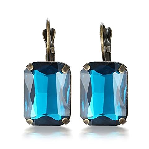 Simple Leverback Drop Dangle Earrings Clip-on with Blue Crystal for