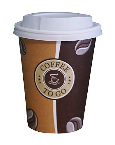 Gastro-Bedarf-Gutheil 100 Pappbecher Einwegbecher EINWEG Coffee to go 0,3 L Top Becher mit 100 Deckel in weiss Ideal für Coffee Latte Machiato Cappuccino Chocolate Tea Cream