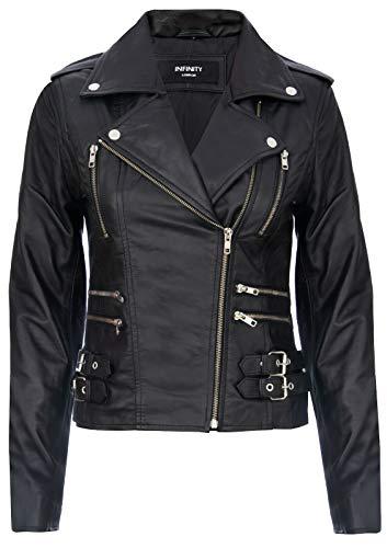Infinity Leather Damen Retro Schwarz 100% Nappaleder Bikerjacke XS -