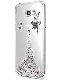 6f192f0d7be015 Nadoli Transparent Coque Galaxy A3 2017,Clair Fée Papillon Fille Conception  Brillant Glitter TPU Étui Housse Cas Cover pour Samsung…