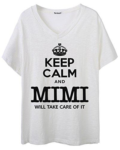 So'each Women's Keep Calm Mimi Graphic V-Neck Tee T-shirt Ladies Casual Top Weiß