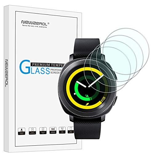 [Lot de 4] Newzerol pour Samsung Gear Sport Smart Watch (31 MM) Version mise 2.5d Arc Bords 9 Dureté haute définition d'écran en verre trempé