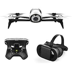 Parrot BEBOP 2 FPV - Dron cuadricóptero (Full HD 1080P, 14 Mpx, 60 Km/h, 25 minutos de vuelo, 2 Km de alcance, 8GB) + Mando Skycontroller 2 + Gafas Cockpitglasses, color blanco