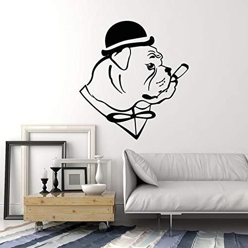 Englische Bulldogge Hund In Hut Gentleman Zigarre Vinyl Wandtattoo Wohnkultur Wohnzimmer Kunstwand Removable Wall Stic 58x63 cm (Hut-kuchen Katze Im)