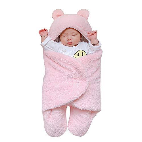 Kobay Neugeborenen Baby Mädchen Jungen Nette Baumwolle Solide Weichem Plüsch Schlafdecke Wrap Swaddle(0-3M,Rosa)