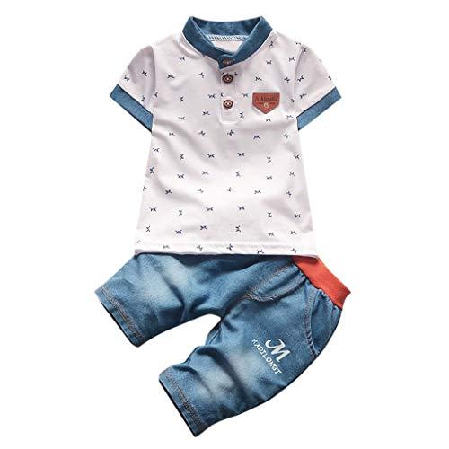 Kind Junge Sommer Polo Shirt Set M Brief drucken Kurzarm T-Shirt Jeans Zweiteilige Anzug (3M-4Y)(Weiß, 100/M)