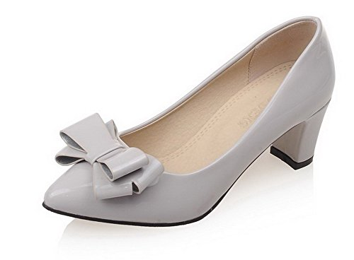 AgooLar Femme Matière Mélangee Couleur Unie Tire Pointu à Talon Correct Chaussures Légeres Gris