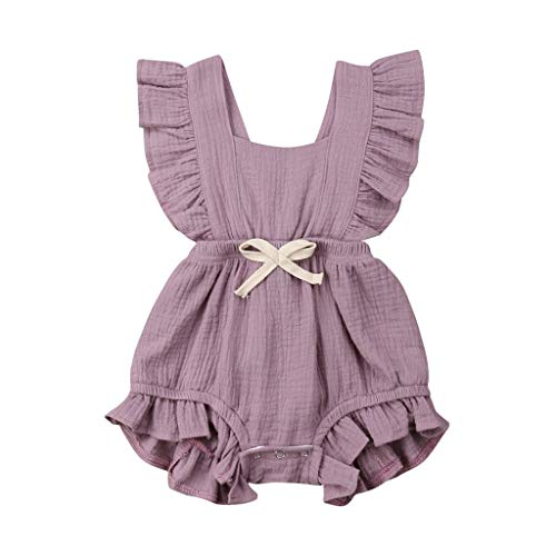 aby Mädchen Kinder Farbe einfarbig Rüschen Rückkreuzspielanzug Bodysuit Outfits (Lila,90) ()