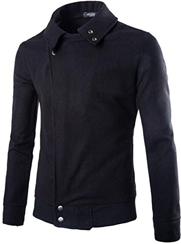 Jeansian Hommes Costumes Fashion Trend Mens Casual Simple Jacket Coat 9368 Black