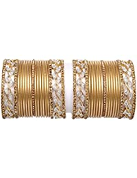 Traditional Golden Color Plain Bangle Set Pair For Women Wedding Bridal Wear Fashion Jewelry