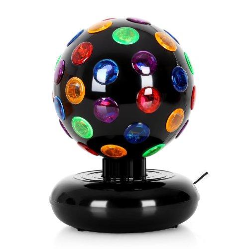 oneConcept Disco Ball • Party Discokugel • Leuchtkugel • Lichteffekt • 7 Watt 16 cm Durchmesser • 46 bunte Linsen • rotierendes Party-Licht • orange, blau, rot, grün, lila • Netz-Betrieb • schwarz