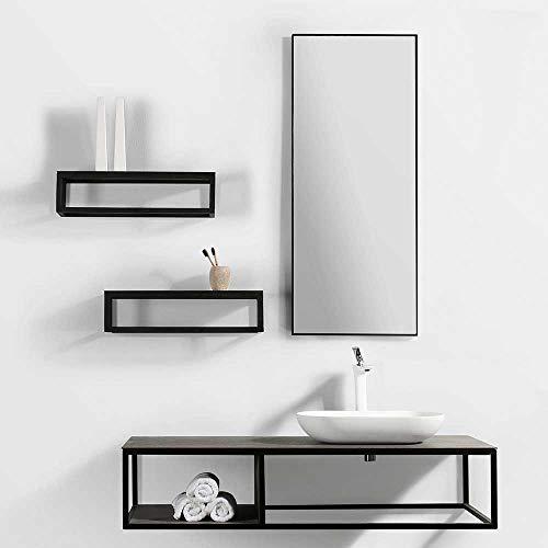 Pharao24 Exklusives Badezimmermöbelset in Schwarz und Eiche Grau Optik modern