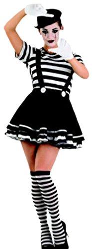 Karnevalsbud - Damen Kostüm Pantomime, Clown, Karneval, Fasching, M, Schwarz-Weiß