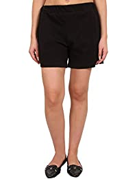9teenAGAIN Women's Solid Hosiery Shorts (Black)