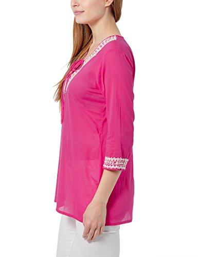 Berydale Camicetta Donna Manica Lunga con Scollo Stile Tunica Rosa (Pink/Weiß)