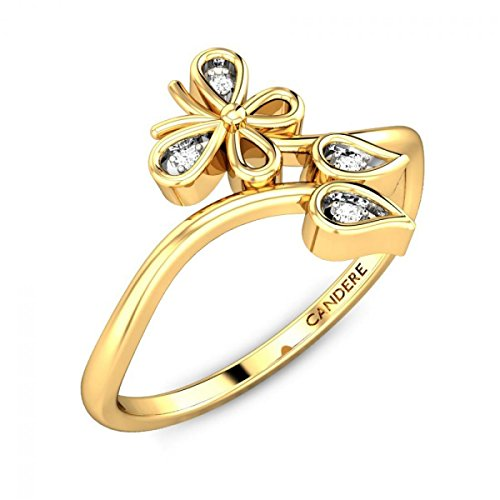 ( 6. ) Candere By Kalyan Jewellers 14KT Yellow Gold and Diamond Ring for Women