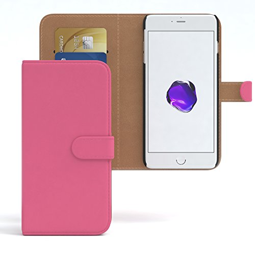 """iPhone 8+ Hülle / iPhone 7+ Tasche - EAZY CASE Bookstyle Cover """"VINTAGE"""" Klapphülle für Apple iPhone 7 Plus & iPhone 8 Plus - Edle Schutzhülle als Geldbeutel mit Kartenfach in Schwarz Pink - Uni"""