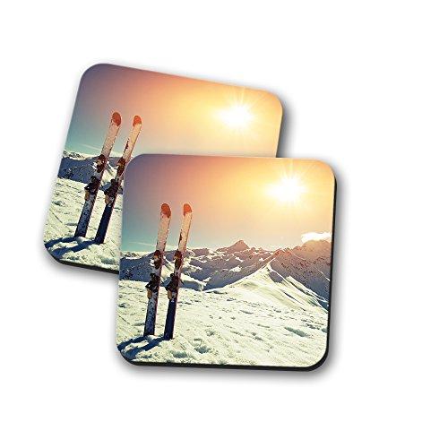 Untersetzer aus Kork mit Ski-Szene als Motiv, für Tee und Kaffee, holz, 2 Coaster - Tee-szene