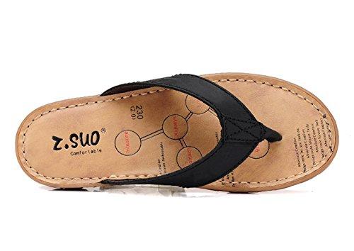 93a11a99b25 Plat Flops Flip Bout Cuir Piscine Plage Femme Sandales Noir Mules Tongs  Ouvert Et Normal Chaussures ...