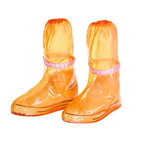 Lanlan tragbar Wasserdicht Antirutsch wiederverwendbar Regen, Schuh Regen Stiefel Bezug Regen Gear Regenmäntel Zubehör, orange (Cougar-frauen-schuhe)