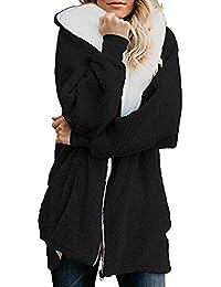 Beikoard Damen Kapuzenjacke mit doppelter Sweaterjacke Solid Oversized Zip Down mit Kapuze Flauschige Mantel Cardigans Outwear mit Tasche