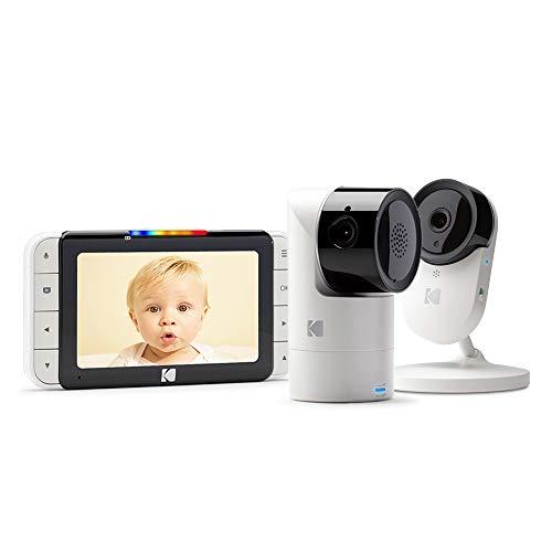 KODAK CHERISH C525 Baby monitor video + C120 Telecamera app mobile - WiFi Pan/Tilt/Zoom ad alta risoluzione, display HD da 5, audio bidirezionale, visione notturna, portata a lungo raggio