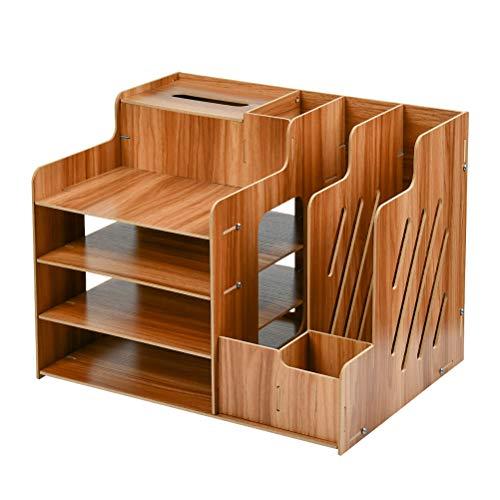 FOCCTS Schreibtischorganizer Holz, Lesfit Tisch Organizer Büro Veranstalter Multifunktionaler Schreibtisch Ordentlich Stationärer Aufbewahrungsschrank mit Schraube für Bürobedarf