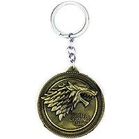 JUZIPI - Llavero de metal con diseño de lobo de Juego de Tronos y estrella de oro en invierno