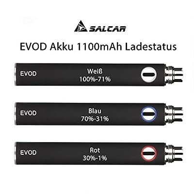 Salcar® EVOD Akku 1100mAh für eGo E-Zigaretten mit 510er Gewinde (Schwarz) von salcar