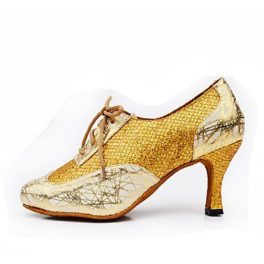 XIAMUO Anpassbare Damen Tanz Schuhe aus Leder Leder Sekt Sekt Glitter Glitter Latin Jazz Fersen angepasste HeelPractice Anfänger Silber