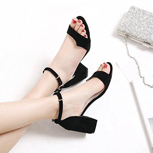 Estate Donna Sandali scarpe tacchi alti impermeabile,36 nero Black