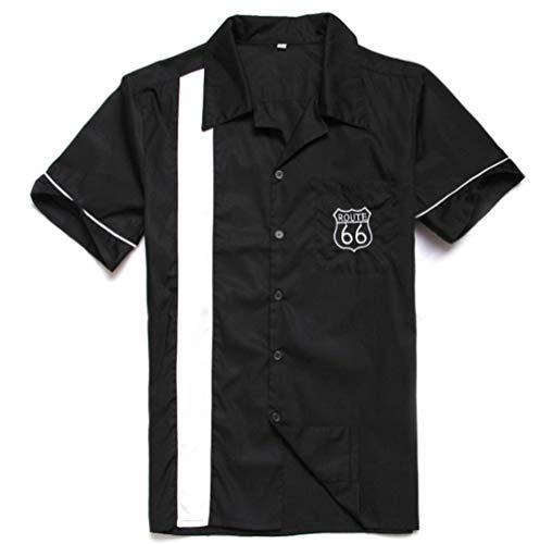 Anchor MSJ Herren 50S Männlich Kleidung Rockabilly-Art-beiläufige Baumwollbluse Fifties Bowling-Kleid Shirts X-Large Schwarz