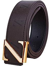 Hombres Mujer Marrón Cinturones Real Cuero metal Oro Plata Z Pin Hebilla  Diseño Niño Niña Cinturón Vaquero Traje Trabajo Jeans Cinturón… a769a7808879