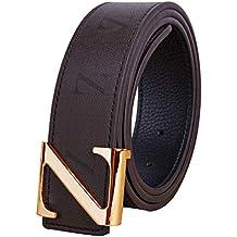 Hombres Mujer Marrón Cinturones Real Cuero metal Oro Plata Z Pin Hebilla  Diseño Niño Niña d83bb0f7a972