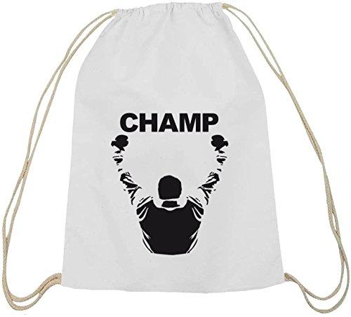 Shirtstreet24, CHAMP, boxen Boxer Baumwoll natur Turnbeutel Rucksack Sport Beutel weiß natur