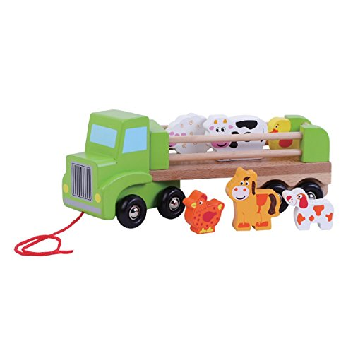 Children's Wooden Toy Pull Along Farm Lorry with Animals by jumini �