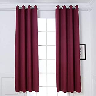 Dream Art Anti Mite Super Soft Thermal Insulated Curtain/Drape for Nursery,Children Kids Bedroom Eyelet Blackout Curtains for Living room Energy Saving Noise Reducing (132 * 160cm, Burgundy-2pcs)