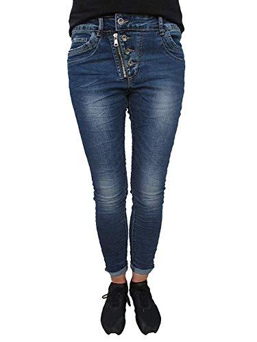 Karostar Baggy Boyfriend Damen Stretch Hose Jeans offene Knopfleiste Front Zip große Größen (4XL-48, Dark Denim) -